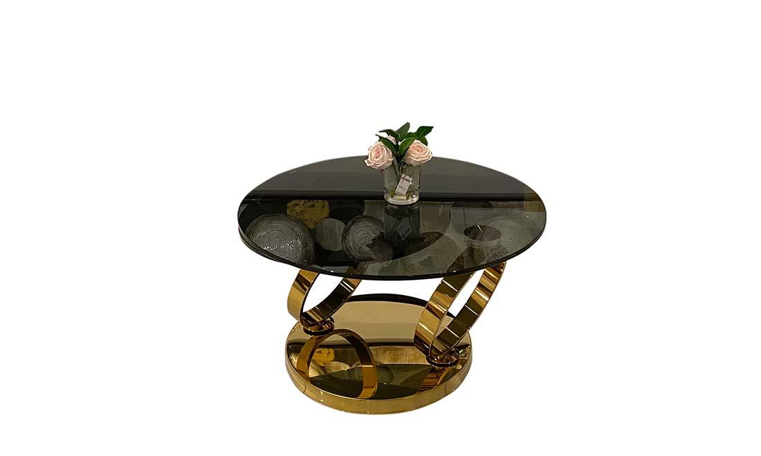 Стол журнальный круглый double ring золото